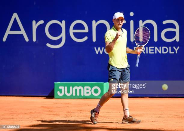 Dominic Thiem of Austria gestures during a match against Aljaz Bedene of Slovenia as part of ATP Argentina Open at Buenos Aires Lawn Tennis Club on...