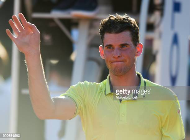 Dominic Thiem of Austria greets the audience after winning a semifinal match against Gael Monfils of France as part of ATP Argentina Open at Buenos...