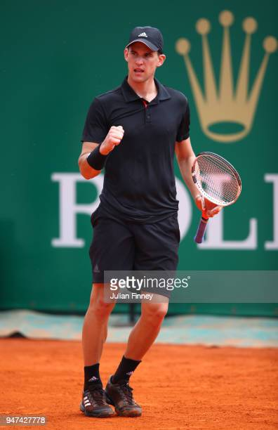 Dominic Thiem of Austria hcelebrates a point during his Mens Singles match against Andrey Rublev of Russia at MonteCarlo Sporting Club on April 17...