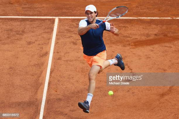 Dominic Thiem of Austria hits a forehand return in the men's quarterfinal match against Rafael Nadal of Spain on Day Six of the Internazionali BNL...