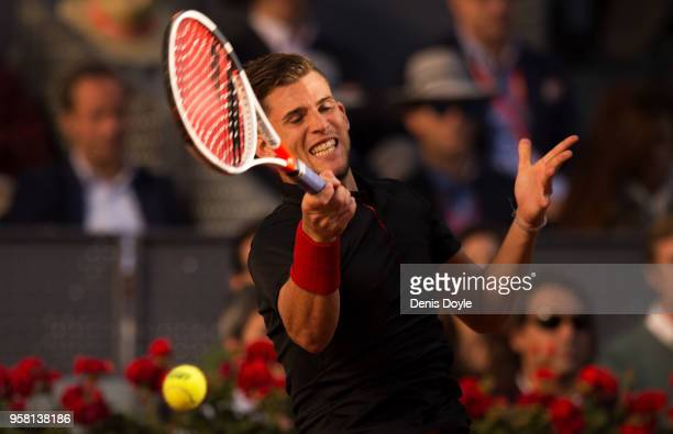 Dominic Thiem of Austria in a action against Alexander Zverev of Germany in the final matchduring day nine of the Mutua Madrid Open tennis tournament...