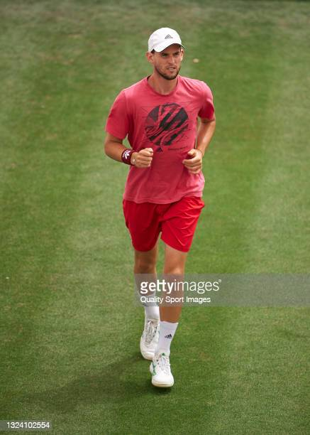 Dominic Thiem of Austria in a practice session ahead of the Mallorca Championships 2021 at Country Club de Santa Ponça on June 17, 2021 in Calvia,...