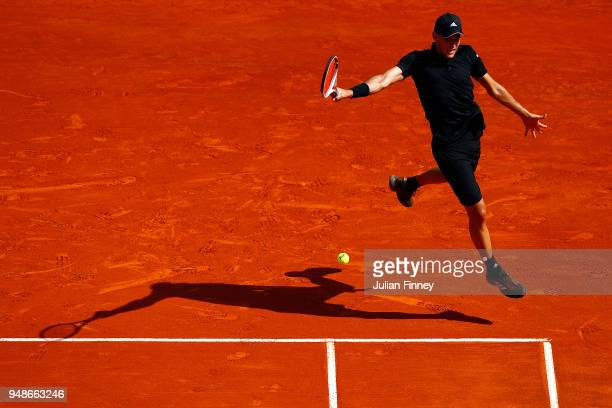 Dominic Thiem of Austria in action against Noval Djokovic of Serbia during day five of the Rolex MonteCarlo Masters at MonteCarlo Sporting Club on...