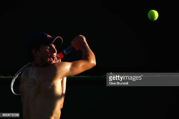 Dominic Thiem of Austria in action during a practice session on day four of the BNP Paribas Open at Indian Wells Tennis Garden on March 9 2017 in...