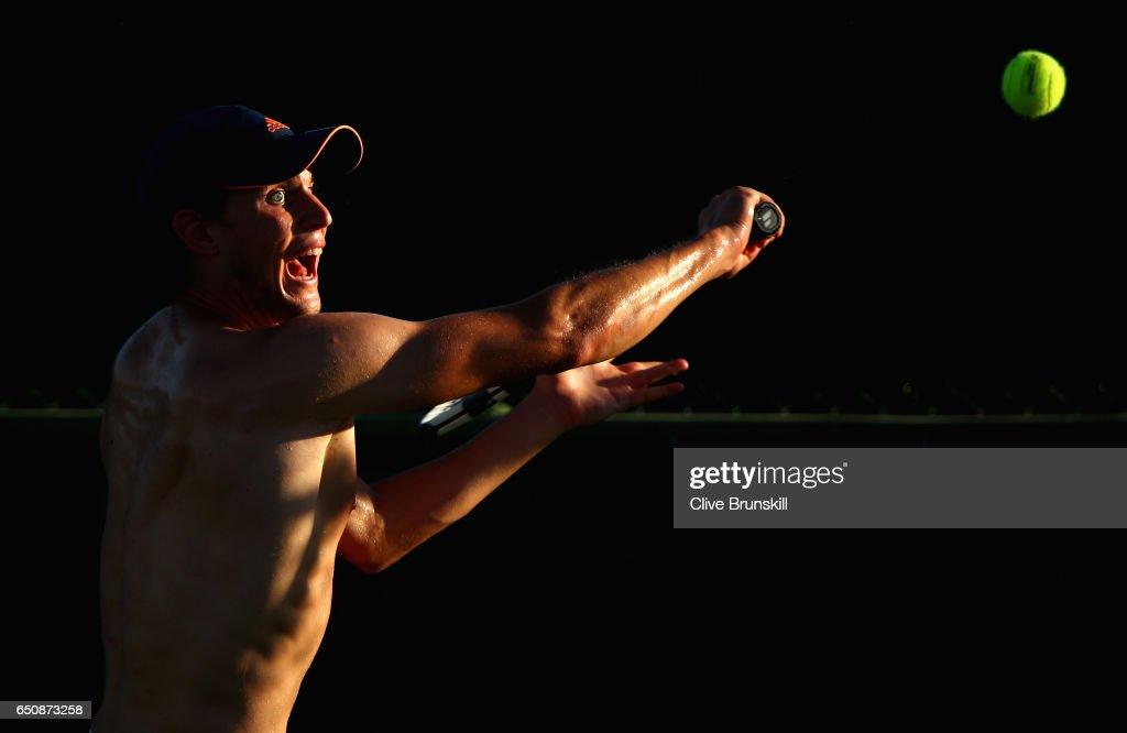 Dominic Thiem of Austria in action during a practice session on day four of the BNP Paribas Open at Indian Wells Tennis Garden on March 9, 2017 in Indian Wells, California.