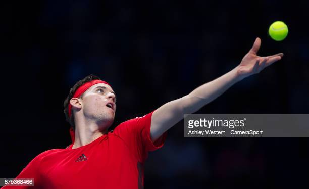 Dominic Thiem of Austria in action during his defeat to David Goffin 0f Belgium in their Group Pete Sampras match today Goffin def Thiem 64 61 at O2...