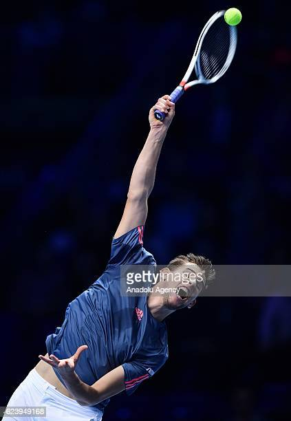 Dominic Thiem of Austria in action during his Men's Singles match against Milos Raonic of Canada during day five of the Barclays ATP World Tour...