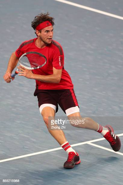 Dominic Thiem of Austria in action during the match against Guido Pella of Argentina during Day 4 of 2017 ATP Chengdu Open at Sichuan International...