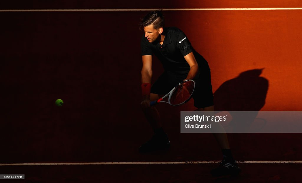 Dominic Thiem of Austria in action during the warm up prior to his match against Alexander Zverev of Germany in the mens final during day nine of the Mutua Madrid Open tennis tournament at the Caja Magica on May 13, 2018 in Madrid, Spain.