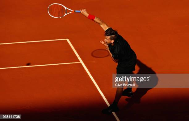 Dominic Thiem of Austria in action during the warm up prior to his match against Alexander Zverev of Germany in the mens final during day nine of the...