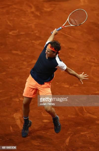 Dominic Thiem of Austria in action in his match against Grigor Dimitrov of Bulgaria during day six of the Mutua Madrid Open tennis at La Caja Magica...