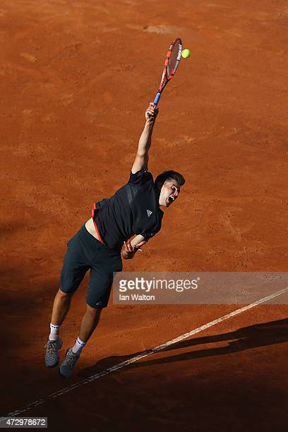 Dominic Thiem of Austria in action in his match against Simone Bolelli of Italy on Day Two of the The Internazionali BNL d'Italia 2015 at the Foro...