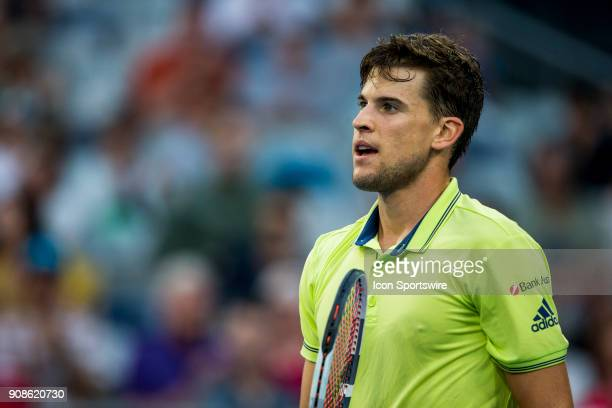 Dominic Thiem of Austria in his fourth round match during the 2018 Australian Open on January 22 at Melbourne Park Tennis Centre in Melbourne...