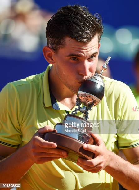 Dominic Thiem of Austria kisses the trophy after winning the final match against Aljaz Bedene of Slovenia as part of ATP Argentina Open at Buenos...