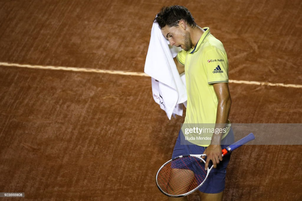 Dominic Thiem of Austria laments losing a point during his match against Fernando Verdasco of Spain during the quarter finals of the ATP Rio Open 2018 at Jockey Club Brasileiro on February 23, 2018 in Rio de Janeiro, Brazil.
