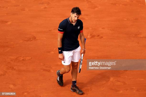 Dominic Thiem of Austria looks dejected during the mens singles final against Rafael Nadal of Spain during day fifteen of the 2018 French Open at...