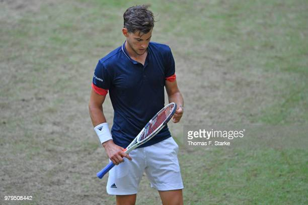Dominic Thiem of Austria looks dejected in his match against Yuichi Sugita of Japan during day three of the Gerry Weber Open at Gerry Weber Stadium...