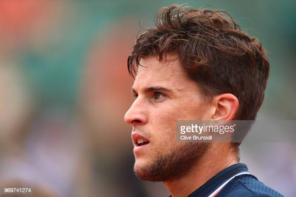 Dominic Thiem of Austria looks on during the mens singles semifinal match against Marco Cecchinato of Italy during day thirteen of the 2018 French...