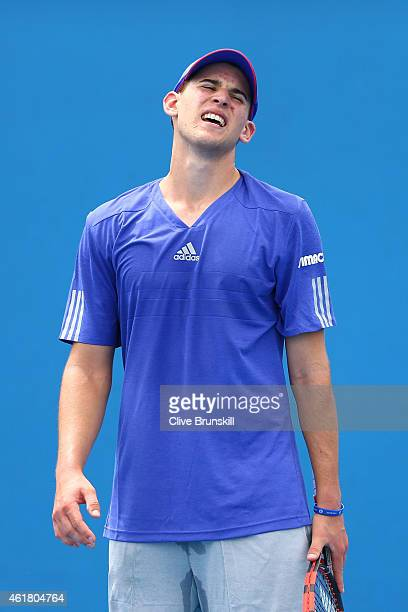 Dominic Thiem of Austria looks on in his first round match against Roberto Bautista Agut of Spain during day two of the 2015 Australian Open at...