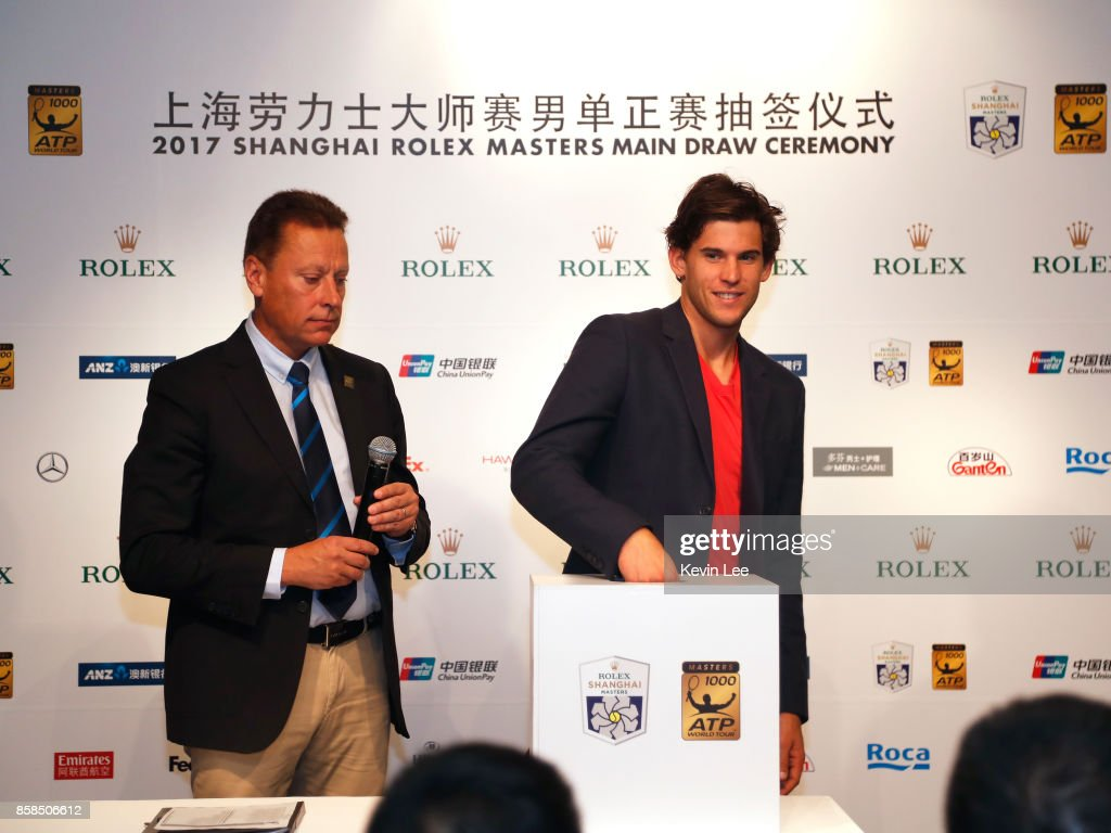 Dominic Thiem of Austria make a draw chair by ATP supervisor Lars Graff at the 2017 Shanghai Rolex Masters Main Draw ceremony on October 7, 2017 in Shanghai, China.