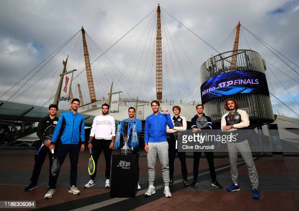 Dominic Thiem of Austria, Novak Djokovic of Serbia, Matteo Berrettini of Italy, Roger Federer of Switzerland, Rafael Nadal of Spain, Alexander Zverev...