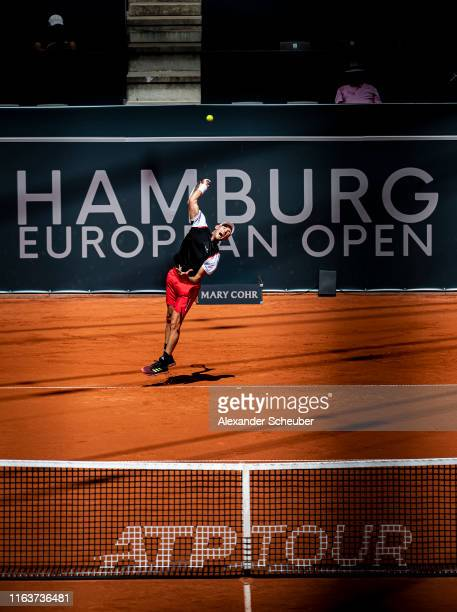Dominic Thiem of Austria performs during the Hamburg Open 2019 at Rothenbaum on July 23 2019 in Hamburg Germany