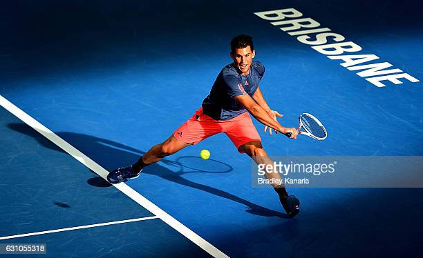 Dominic Thiem of Austria plays a backhand against Grigor Dimitrov of Bulgaria on day six of the 2017 Brisbane International at Pat Rafter Arena on...