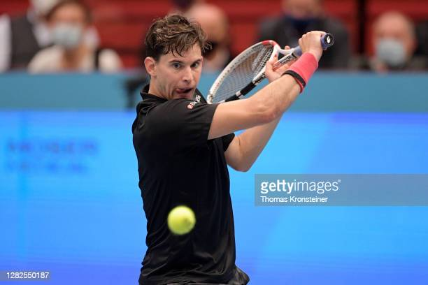 Dominic Thiem of Austria plays a backhand during his match against Vitaliy Sachko of Ukraine on day four of the Erste Bank Open tennis tournament at...