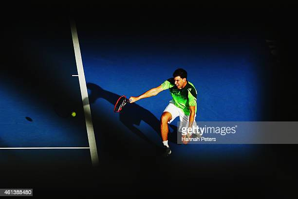Dominic Thiem of Austria plays a backhand during his match against JanLennard Struff of Germany during day one of the 2015 Heineken Open Classic at...