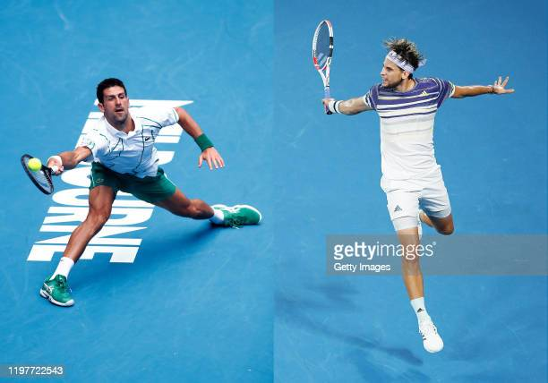 COMPOSITE OF IMAGES Image numbers 12019831911203150052 In this composite image a comparison has been made between Novak Djokovic of Serbia and...