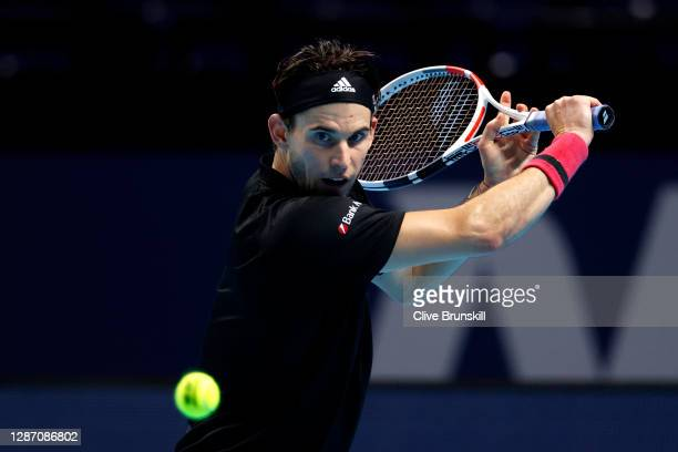 Dominic Thiem of Austria plays a backhand during his singles final match against Daniil Medvedev of Russia during day eight of the Nitto ATP World...