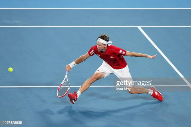 Dominic Thiem of Austria plays a backhand volley during his Group E singles match against Diego Schwartzman of Argentina during day four of the 2020...