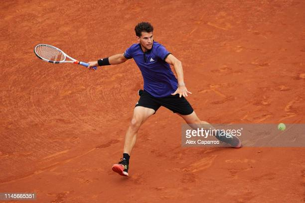 Dominic Thiem of Austria plays a forehand against Daniil Medvedev of Russia during the final match during day seven of the Barcelona Open Banc...