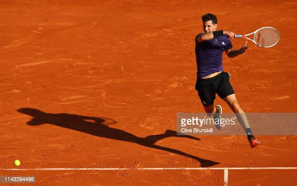 Dominic Thiem of Austria plays a forehand against Martin Klizan of Slovakia in their second round match during day four of the Rolex MonteCarlo...