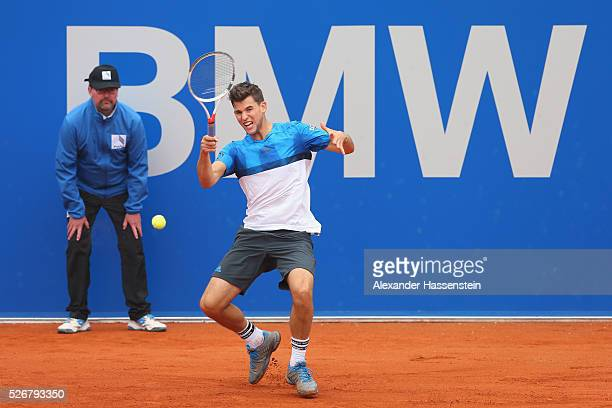 Dominic Thiem of Austria plays a forehand during his finale match against Philipp Kohlschreiber of Germany of the BMW Open at Iphitos tennis club on...