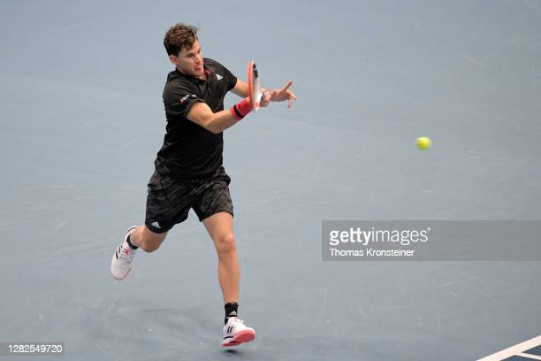 Dominic Thiem of Austria plays a forehand during his match against Vitaliy Sachko of Ukraine on day four of the Erste Bank Open tennis tournament at...