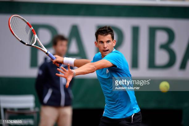 Dominic Thiem of Austria plays a forehand during his mens singles second round match against Alexander Bublik of Kazakhstan during Day five of the...
