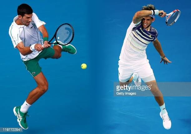 COMPOSITE OF IMAGES Image numbers 12010883901202717318 GRADIENT ADDED In this composite image a comparison has been made between Novak Djokovic of...