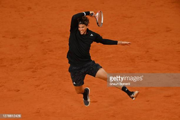 Dominic Thiem of Austria plays a forehand during his Men's Singles quarterfinals match against Diego Schwartzman of Argentina on day ten of the 2020...