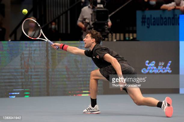 Dominic Thiem of Austria plays a forehand during his quarter finals match against Andrey Rublev of Russia on day seven of the Erste Bank Open tennis...