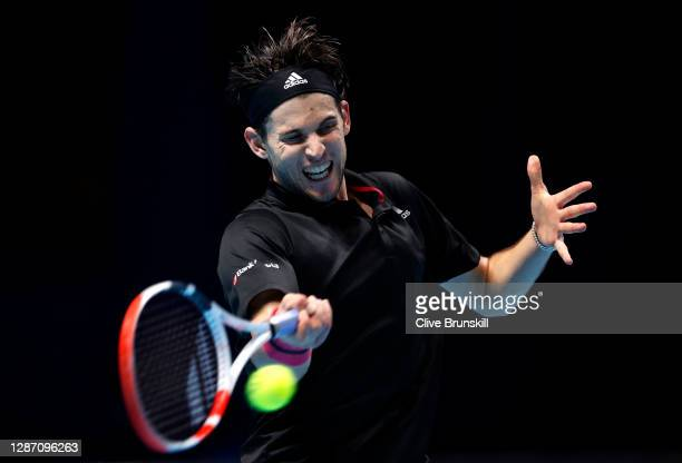 Dominic Thiem of Austria plays a forehand during his singles final match against Daniil Medvedev of Russia during day eight of the Nitto ATP World...