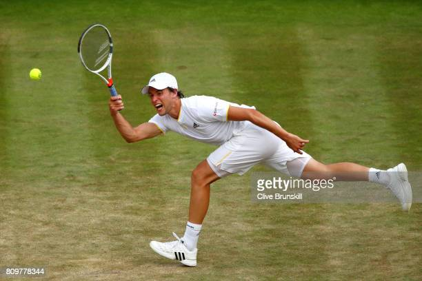 Dominic Thiem of Austria plays a forehand during the Gentlemen's Singles second round match against Gilles Simon of France on day four of the...