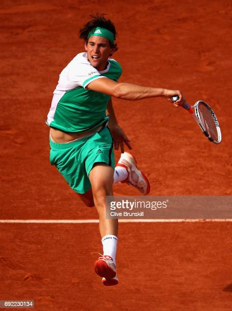Dominic Thiem of Austria plays a forehand during the mens singles fourth round match against Horacio Zeballos of Argentina on day eight of the 2017...