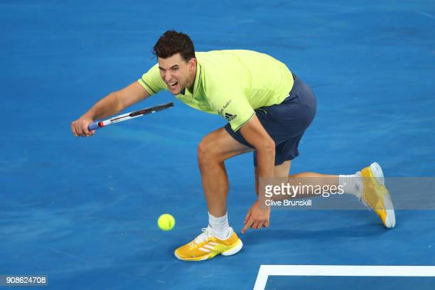 Dominic Thiem of Austria plays a forehand in his fourth round match against Tennys Sandgren of the United States on day eight of the 2018 Australian...