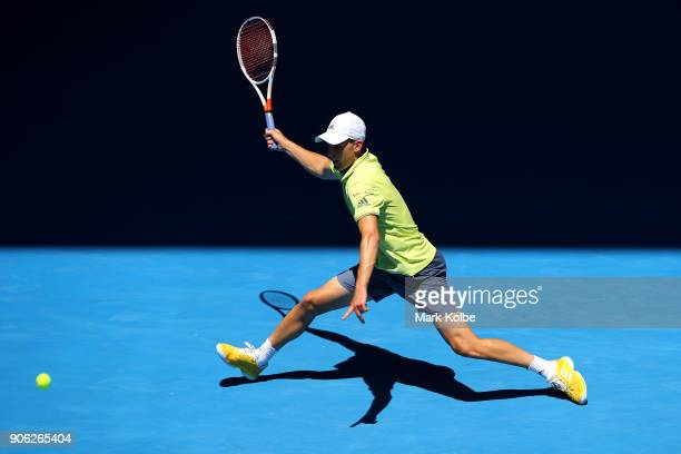 Dominic Thiem of Austria plays a forehand in his second round match against Denis Kudla of the United States on day four of the 2018 Australian Open...