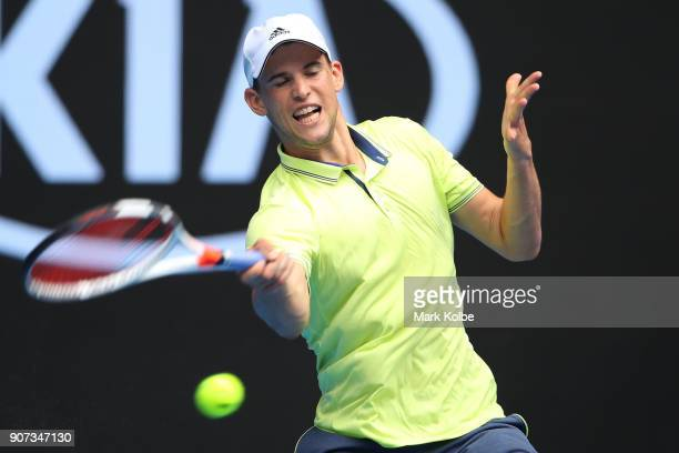 Dominic Thiem of Austria plays a forehand in his third round match against Adrian Mannarino of France on day six of the 2018 Australian Open at...