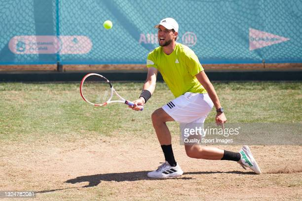 Dominic Thiem of Austria plays a forehand shot during a training session on day three of the Mallorca Championships 2021 at Country Club de Santa...