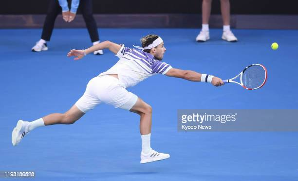 Dominic Thiem of Austria plays a shot during the Australian Open tennis final against Novak Djokovic of Serbia on Feb 2 in Melbourne