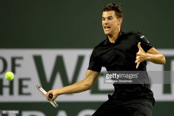 Dominic Thiem of Austria plays Pablo Cuevas of Uraguay during the BNP Paribas Open at the Indian Wells Tennis Garden on March 12 2018 in Indian Wells...