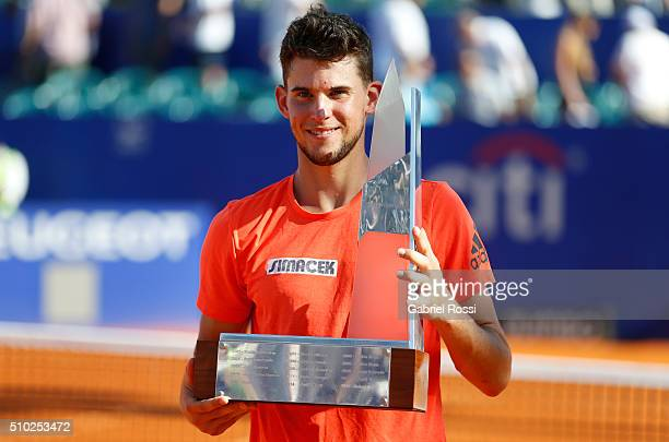 Dominic Thiem of Austria poses for pictures after winning his final match against Nicolas Almagro of Spain as part of ATP Argentina Open at Buenos...